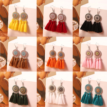 HOCOLE Bohemian Tassel Earring Statement Ethnic Geometric Silk Fringed Long Drop Dangle Earrings For Women 2019 Fashion Jewelry