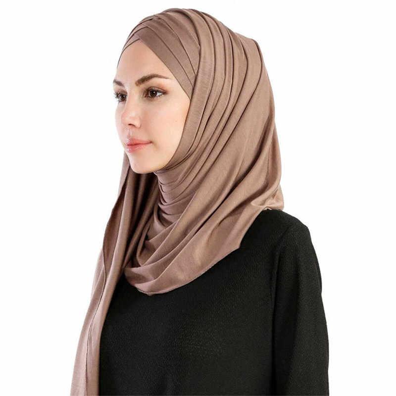 2019 Vrouwen Plain Instant Katoen Jersey Lichtgewicht Hijab Sjaal Moslim Onder Sjaal Volledige Cover Cap Islamitische Kleding Arabische Hoofddeksels
