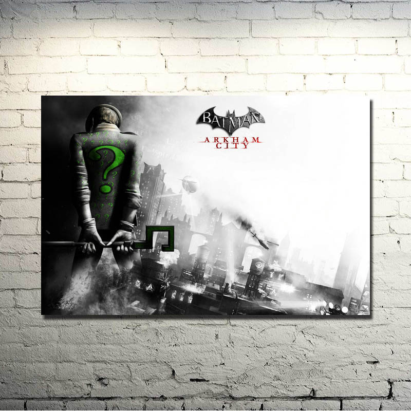 Riddler-Batman Arkham City Arkham Origin Video Game Art Silk Fabric Poster Print 13x20 24x36 inch Room Decor Pictures 059 image