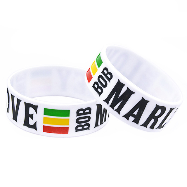 Onebandahouse 1pc 1 Inch Wide One Love Bob Marley Silicone Wristband Bracelet