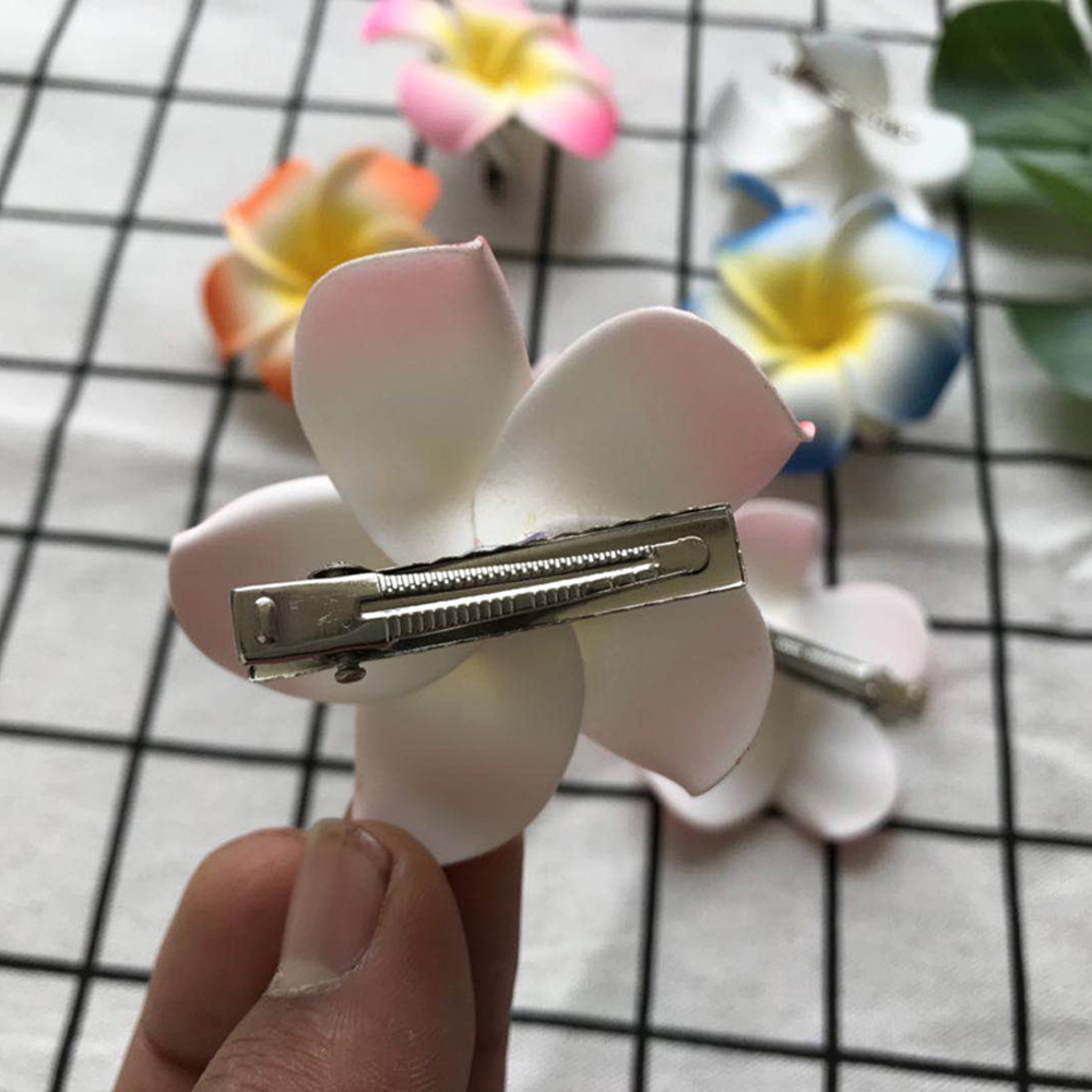 Random Color 1Pc New Arrival Sunny Bright Plumeria Flower Foam Hair Clip Barrettes Hair Clow Hairpin For Women Hair Styling Tool