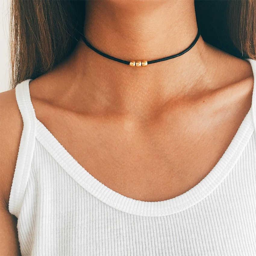 Simple Gold ลูกปัดสีดำ Choker สร้อยคอผู้หญิง Choker สร้อยคอ Charms COLLAR collier Femme colar collane kolye Bijoux