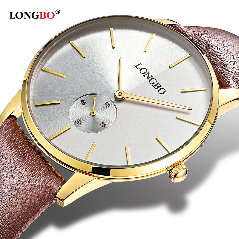 2017 LONGBO Luxury Quartz Watch Casual Fashion Leather Strap Watches Men Women Couple Watch Sports Analog Wristwatch Gift 80286