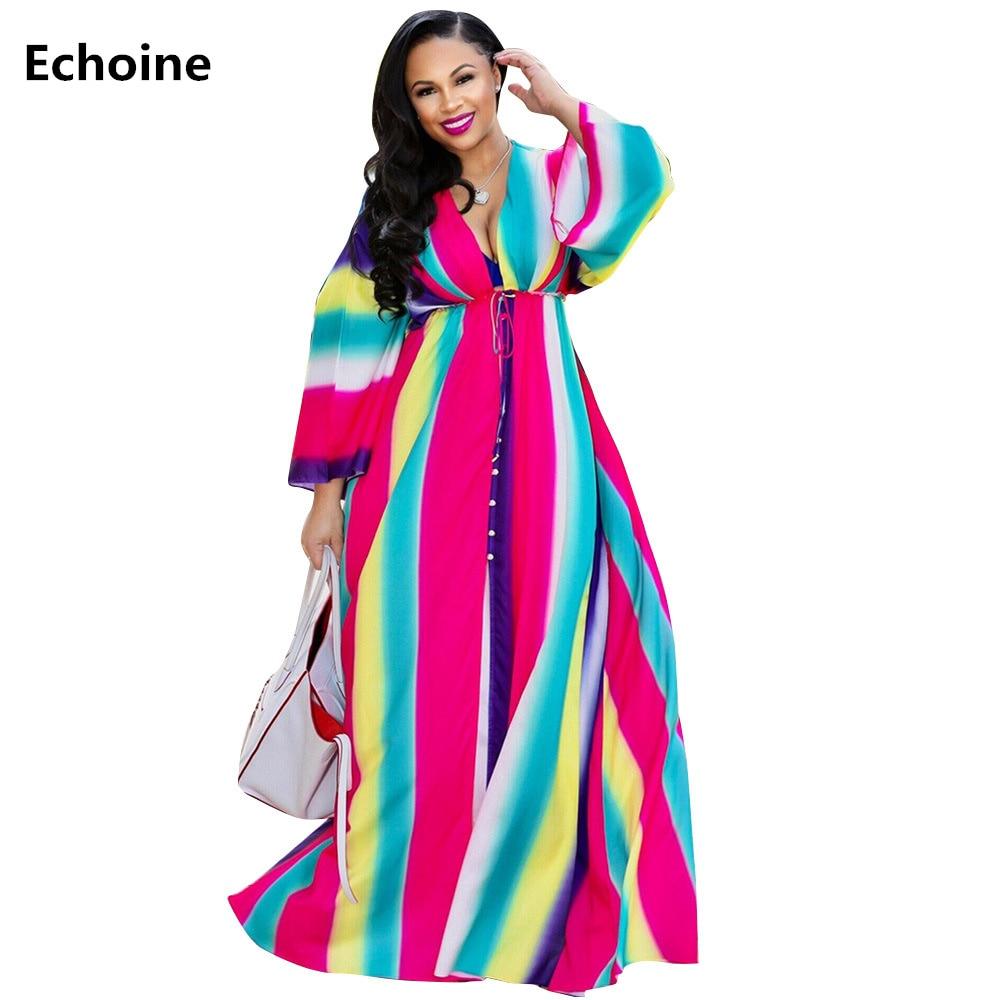 d16c418ed5c Vestido de playa elegante bata de mujer vestido de camisa a rayas de  colores vestido largo Maxi Vintage Vestidos de manga larga botón suelto Boho