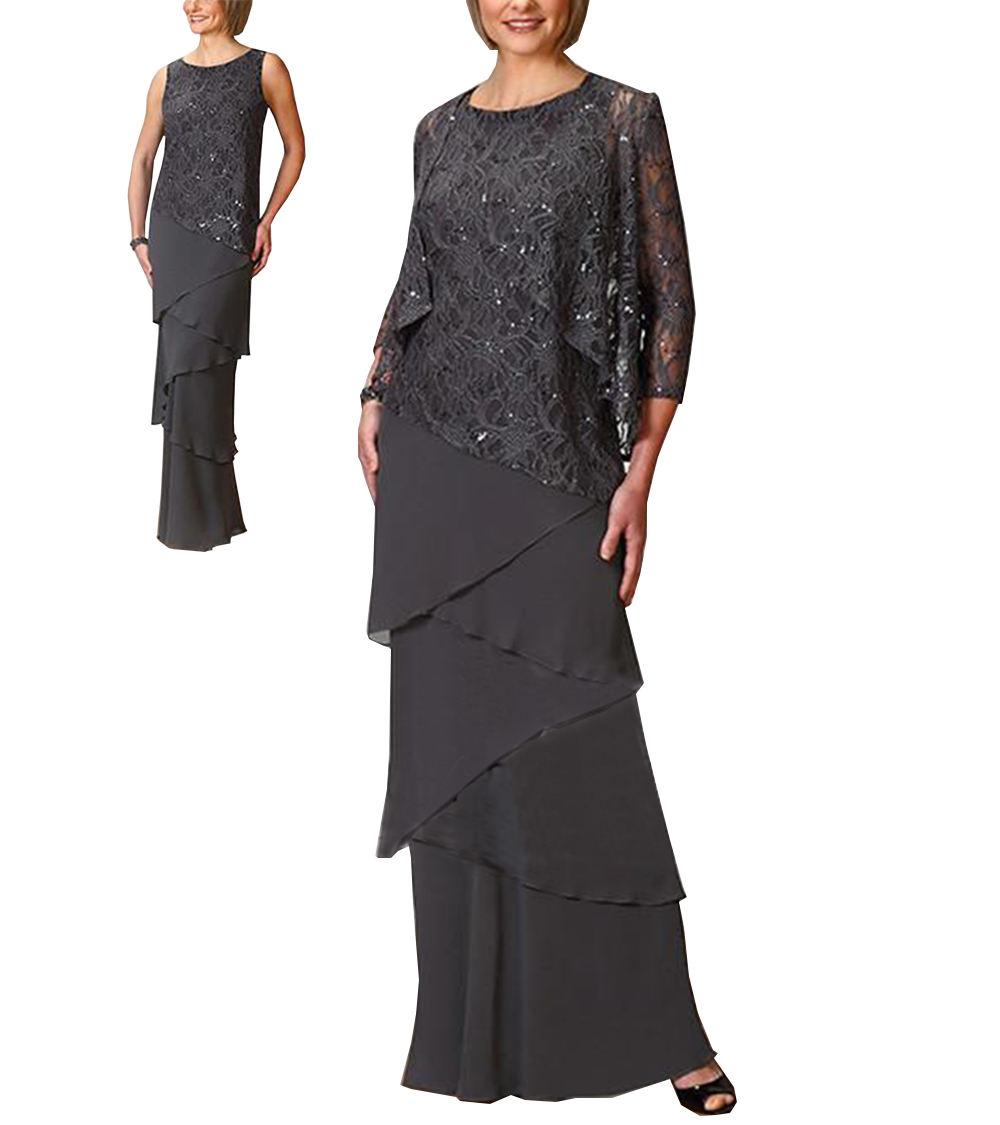 Women Elegant Sequins Chiffon Tiered Ruffles Mother Of The Bride Dress Floor Length For Wedding Groom 2019