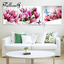 FULLCANG 3pcs diy diamond painting pink orchid & butterfly triptych mosaic cross stitch 3d embroidery full square drill G1139