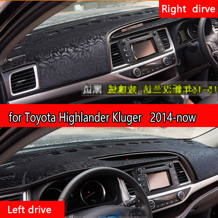 for Toyota Highlander Kluger xu50 2014 -2018 Flannel dashmats car-styling accessories dashboard cover dash pad 2015 2016 2017