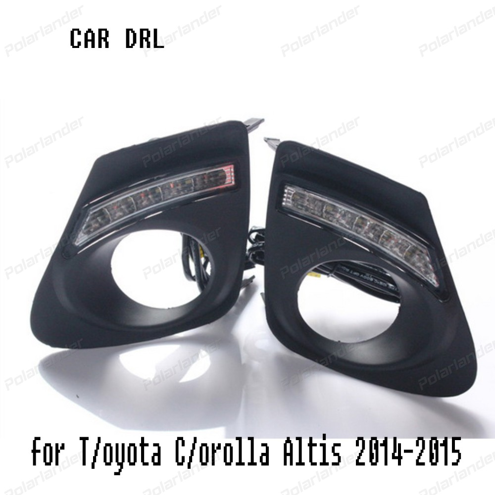 1 set Daytime Running Light car Accessories LED DRL For T/oyota C/orolla Altis 2014 2015 Fog Lamp Signal Car Styling