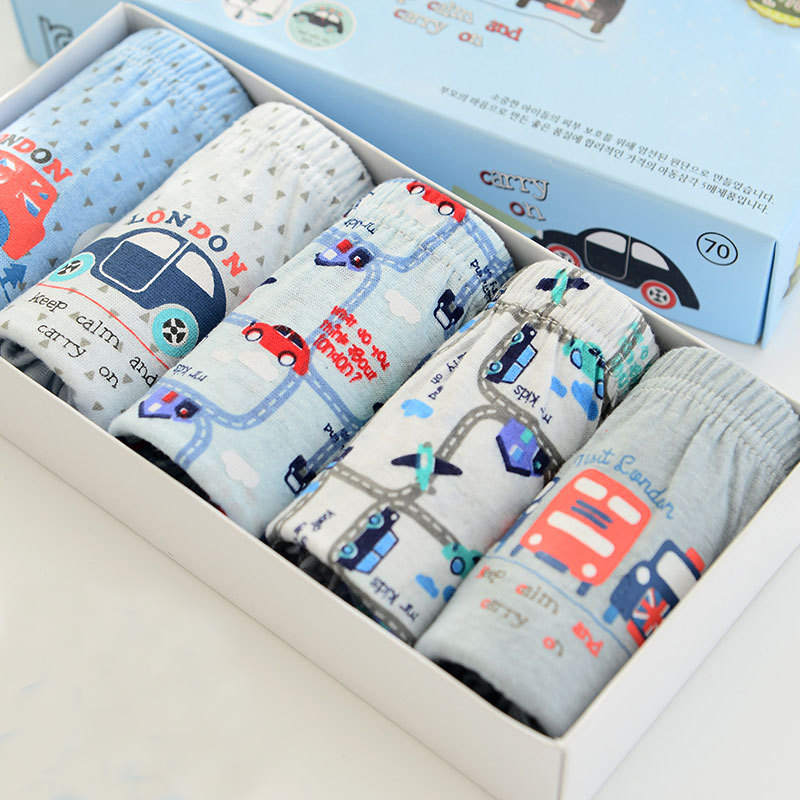 Boxers Boys Underwear Cartoon Baby Panties Cotton Boys Briefs Teenage Car Print