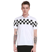 Real shot summer new men's lapel fashion geometric print short sleeve POLO shirt