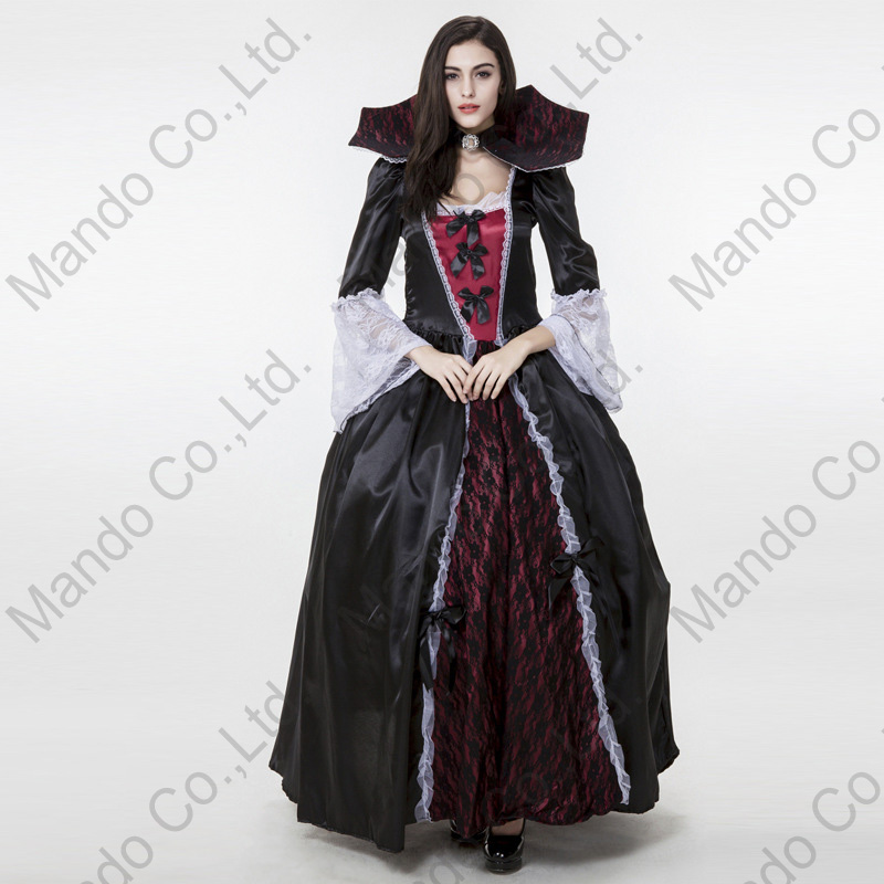 Gothic Castle Women Vampire Queen Cosplay Costume Halloween Outfit Fancy Dress Girls Sexy Carnival party long dresses