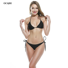 OCQBI bikini 2019 Sexy Solid Backless Women Swimwear Low Waist micro brazilian thong Beach