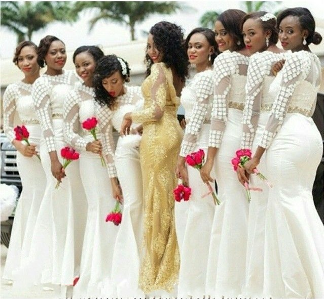 African Style White Bridesmaid Dresses Long Sleeve Mermaid Floor Length Dress Lace Satin