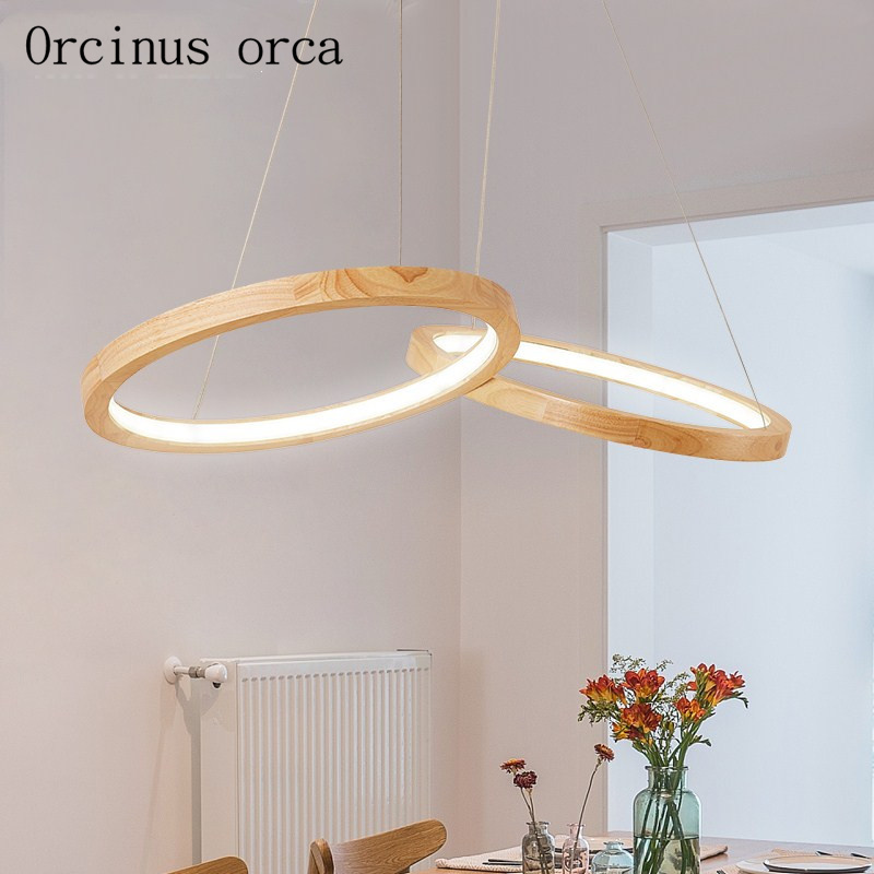 Nordic Modern Simple Wood Halo Chandelier Living Room Bedroom Japanese Style Creative Log LED Chandelier   Free Shipping