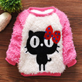 Bebé ropa de la muchacha 2-5A suéter hecho punto otoño invierno ropa Del Bebé Del desgaste historieta del gatito lindo Suéteres niñas de lana suave 4 tamaño
