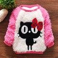 Bebê roupas de menina 2-5Y camisola de malha outono inverno desgaste da roupa Do Bebê gatinho bonito dos desenhos animados Camisolas macio de lã meninas 4 tamanho