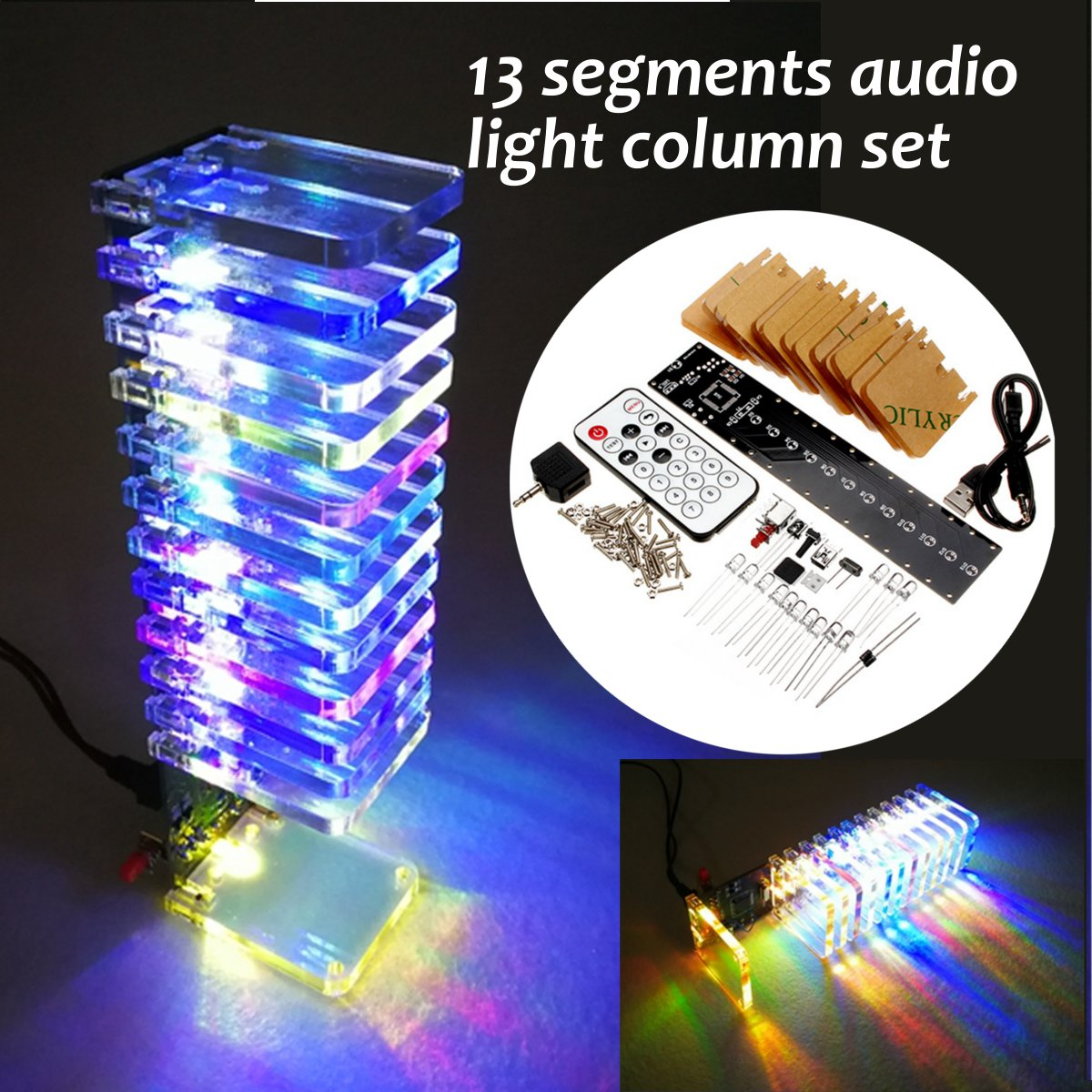 Audio Light Column SCM 13 Segments Light Cube Set Voice Remote Control Indicator DIY Electronic Music Spectrum Kit for SpeakerAudio Light Column SCM 13 Segments Light Cube Set Voice Remote Control Indicator DIY Electronic Music Spectrum Kit for Speaker