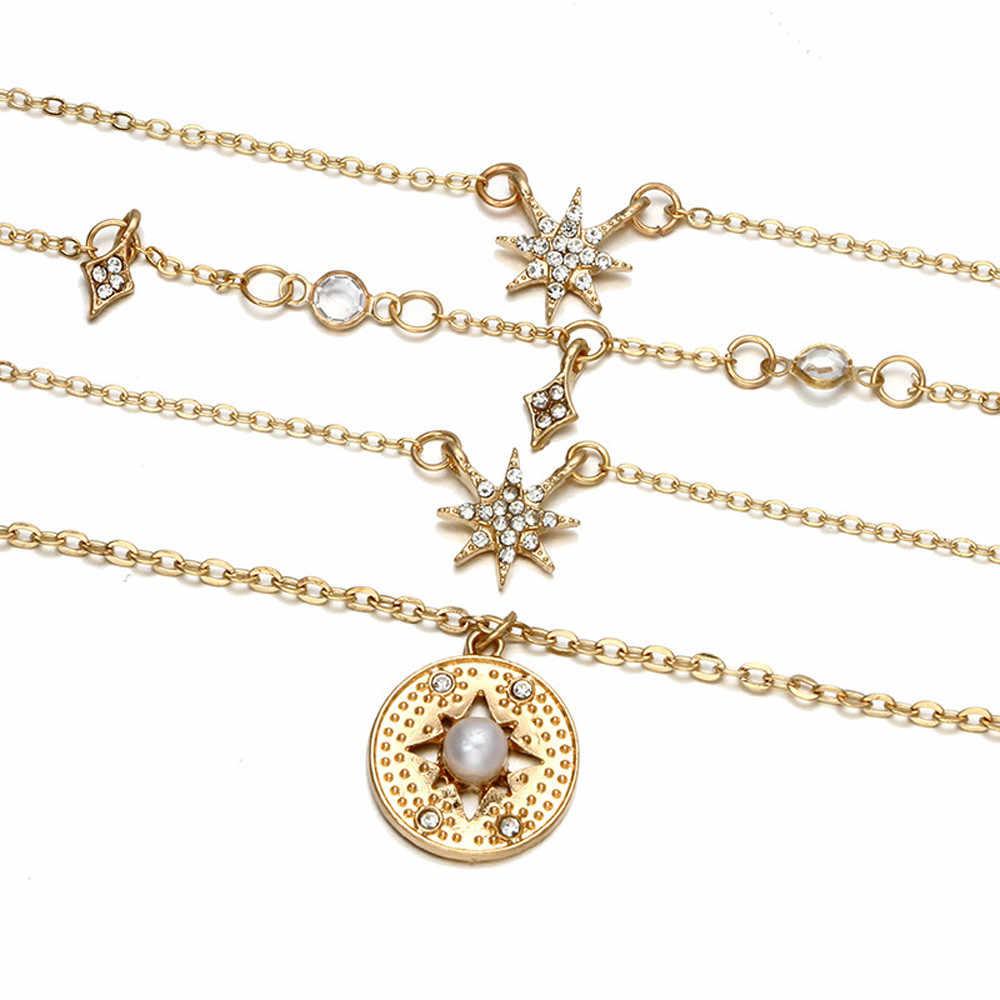 Neue Stil Frauen Halsketten Mode Mond Sterne Anhänger Halskette Kette Elegante Schmuck Zubehör Charmant Pendientes Feine Choker