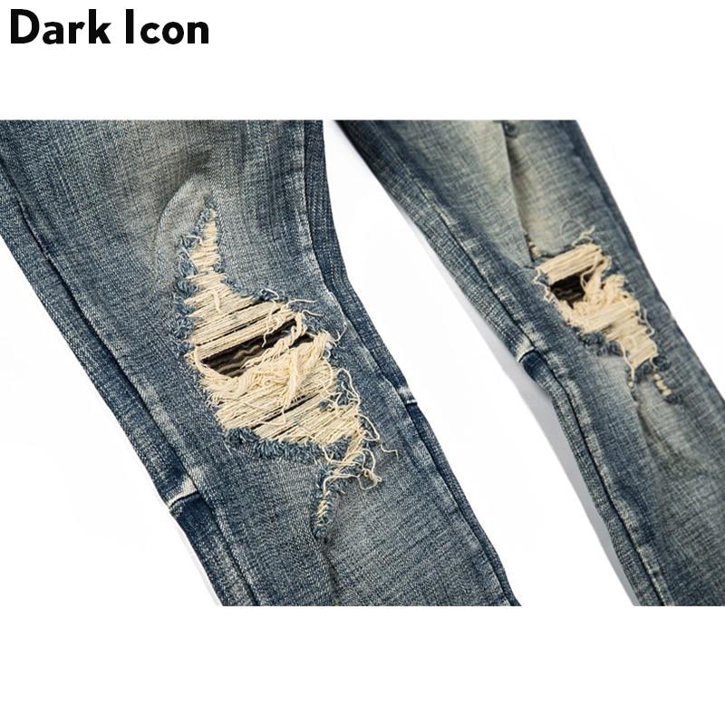Pantalones vaqueros rasgados con icono oscuro para hombre de la calle Jeans de estilo Regular-in Pantalones vaqueros from Ropa de hombre    3