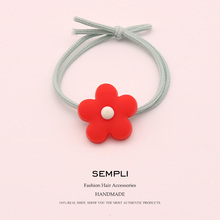 Sempli Korean small fresh Nylon High Rubber For Womens Elastic Hair Bands Ins Cute Sunflower head rope Accessories