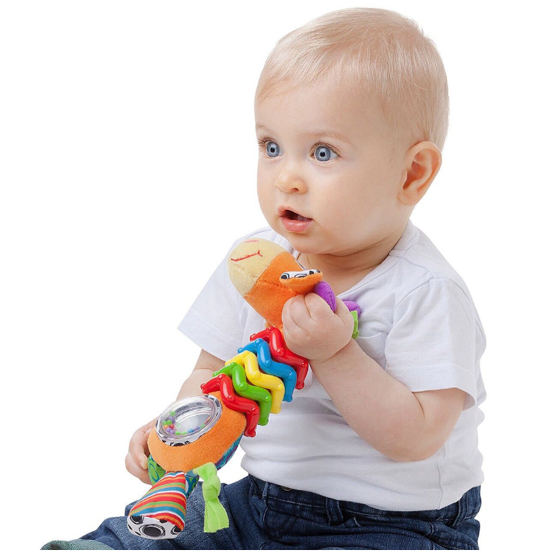 New Hot Infant Baby Rattle Animals Hand Grasp Appease Spinning Lovely Giraffe Handle Turn Bead Ringing Developmental Infant Toy