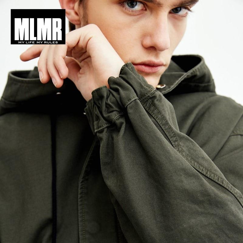 MLMR Men's Letter Printed Hooded Trench Coat Long Jacket JackJones Menswear 218309504
