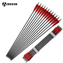 6/12pcs 85cm Spine 500 Carbon Arrows with Red Feather and  Replaceable Tips for Recurve Compound Bow Hunting Shooting Archery