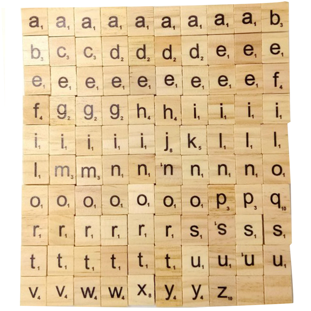 100Pcs Scrabble Scrapbooking Word Handcraft Number Alphabet Tile Name Tage Complete Wooden Letter Set