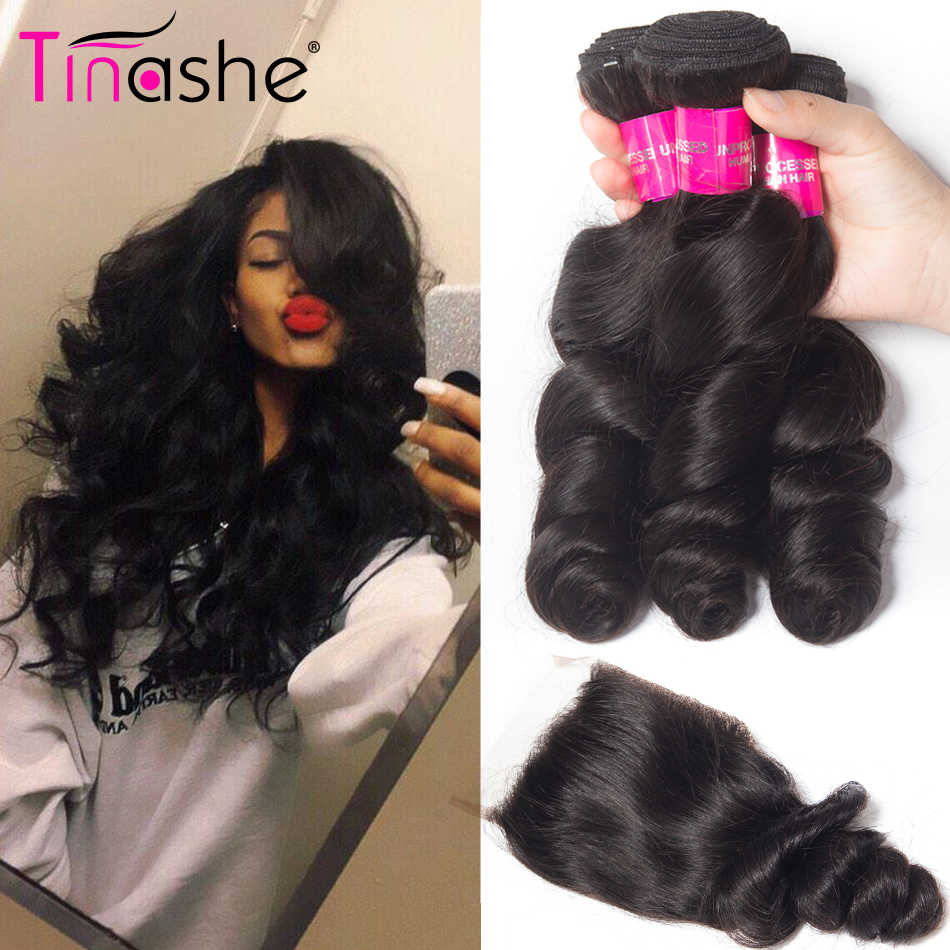 Tinashe Hair Brazilian Hair Weave Bundles With Closure Remy Human Hair 3 Bundles With Closure Loose Wave Bundles With Closure