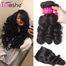 Tinashe Hair Brazilian Hair Weave Bundles With Closure Remy Human Hair 3 Bundles With Closure Loose Wave Bundles With Closure(China)