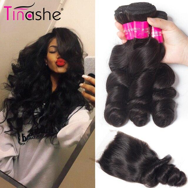 Tinashe שיער ברזילאי שיער Weave חבילות עם סגירת רמי שיער טבעי 3 חבילות עם סגירת Loose גל חבילות עם סגירה