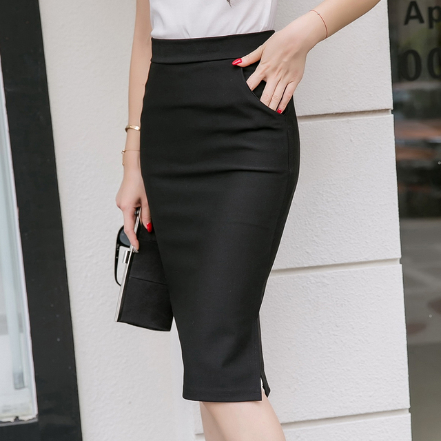 2019 秋の新ファッション女性スカート OL 女性スリムポケットハイウエスト大サイズ固体 placketing の中腸セクシーなヒップスカート 9016