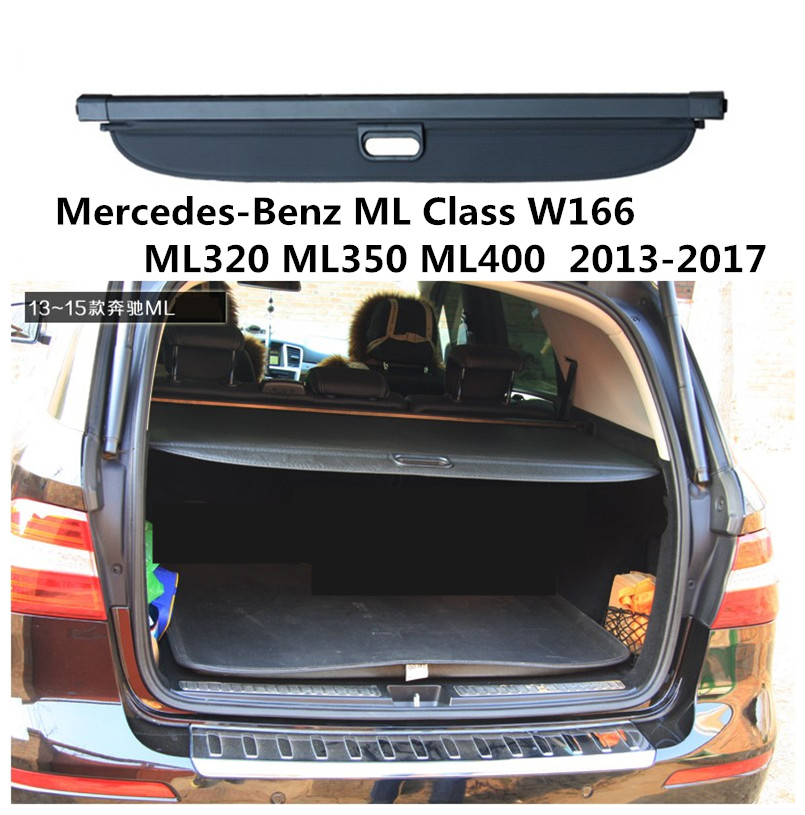 Car Rear Trunk Security Shield Cargo Cover For Mercedes-Benz ML Class W166 ML320 ML350 400 2013-2017 Trunk Shade Security Cover black rear trunk security shade cargo cover for mercedes benz glk class x204 20082009 2010 2011 2012 2013 2014 2015