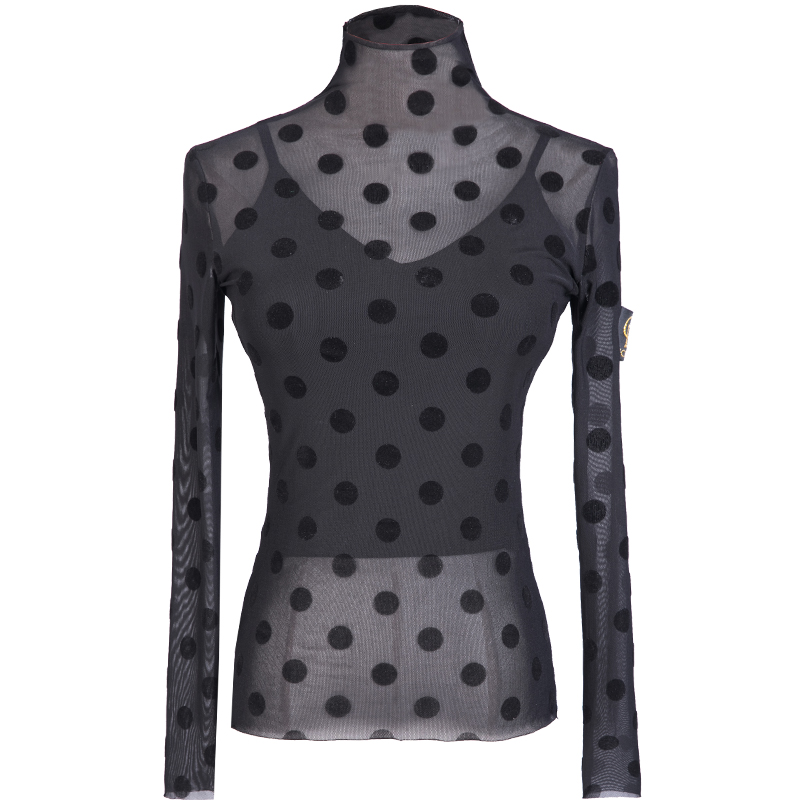 Latin Dance Tops For Women'S Sexy Mesh Round Dot Practice Clothes 2019 New Bottoming Shirt Ballroom Latino Tops S-2XL DWY1217
