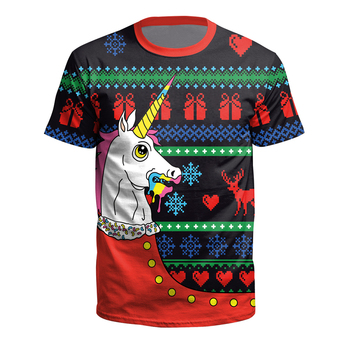 2018 Christmas Style T shirt for Women Men New Fashion Tshirts Christmas Reindeer Deer 3d Print T-shirt Unisex Tees Tops 1