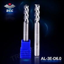 2 шт./лот Высокая точность ZCC.CT AL 3E D6.0 твердосплавные 3 канавки, торцевые фрезы 6 мм D6.0, прямой хвостовик для алюминия