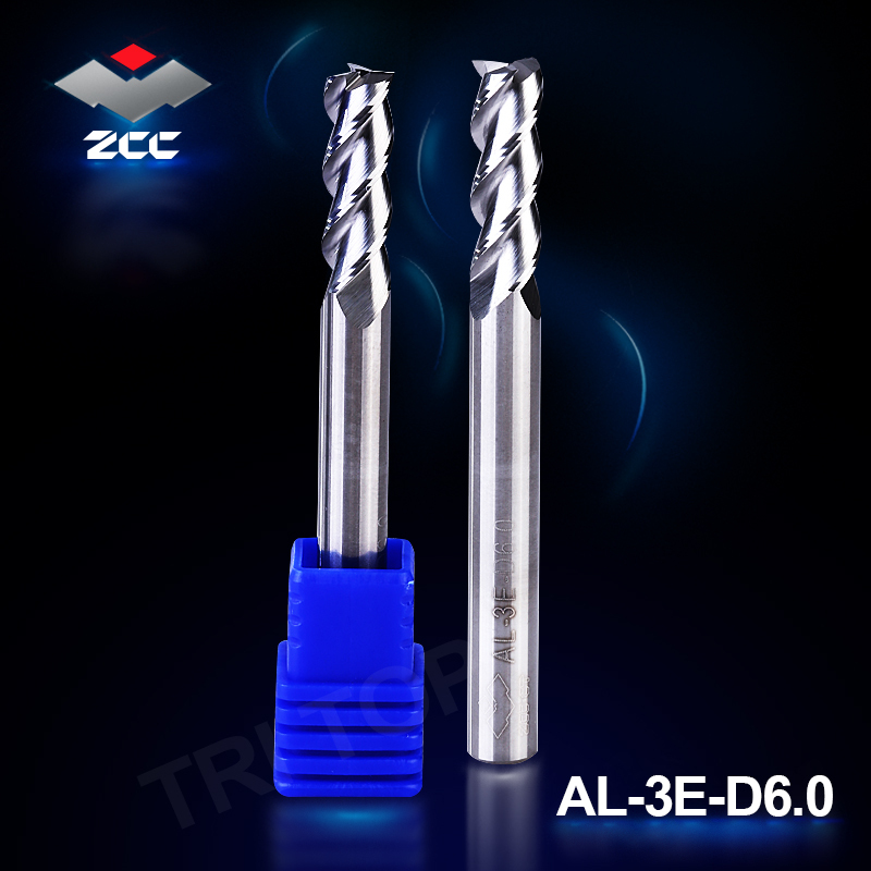 2pcs/lot high precision ZCC.CT AL-3E-D6.0 solid carbide 3 flute flattened end mills 6mm D6.0 straight shank for aluminum high precision machining zcc ct al 3e d20 0 solid carbide 3 flute flattened cnc end mill 20mm straight shank milling cutter