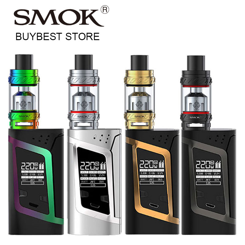 Original Smok Vape Kit with Alien 220W BOX MOD & SMOK TFV12 Tank 6ml Atomizer with V12-T12 Coil Electronic Cigarette Vapor Kit original electronic cigarette mod vape pen smoant charon 218w tc box mod mechanical mod leather cover free shipping
