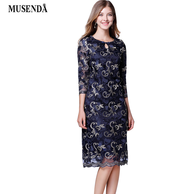 MUSENDA Plus Size Women Elegant Blue Embroidery Mesh Lace Midi Dress 2018  Autumn Lady Vintage Party Office Dresses Clothing 9796ea2f96ad