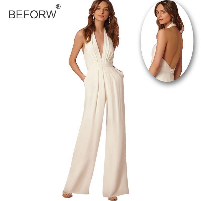 BEFORW Casual Wedding Jumpsuit Sexy Sleeveless Halter Elegant Jumpsuit Ladies Coverall Deep V Sexy Halter Jumpsuit