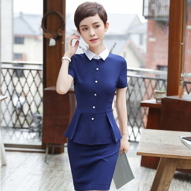 abce2fa68a1d Navy Blue Slim Fit Formal 2 Piece Tops And Skirt For Women Career Interview  Job Ladies Office Work Wear Sets Skirt Suits