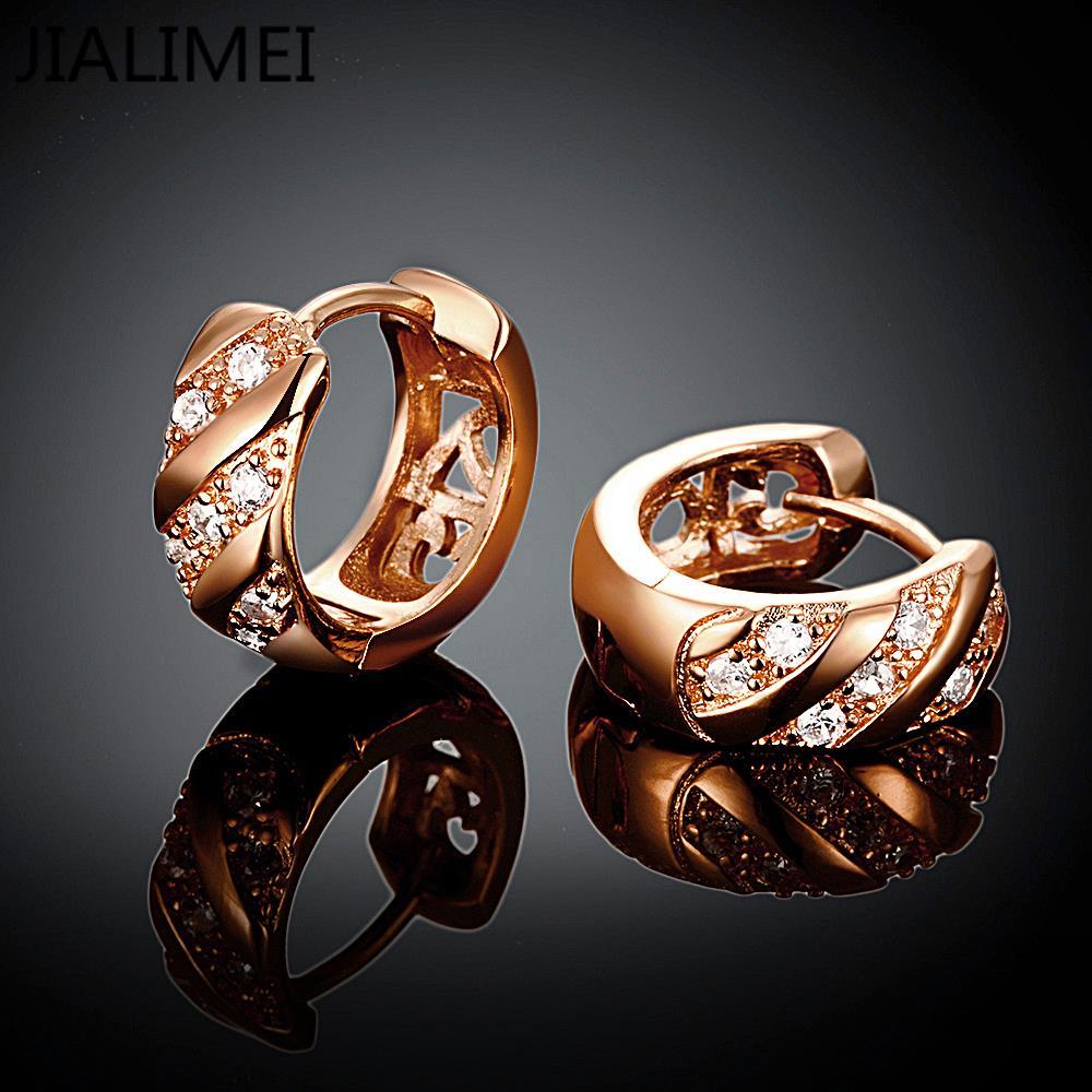 Новое поступление Роскошь розовое золото Цвет Серьги для Обручение Для женщин Циркон Кристалл jialimei ювелирный бренд e035-b