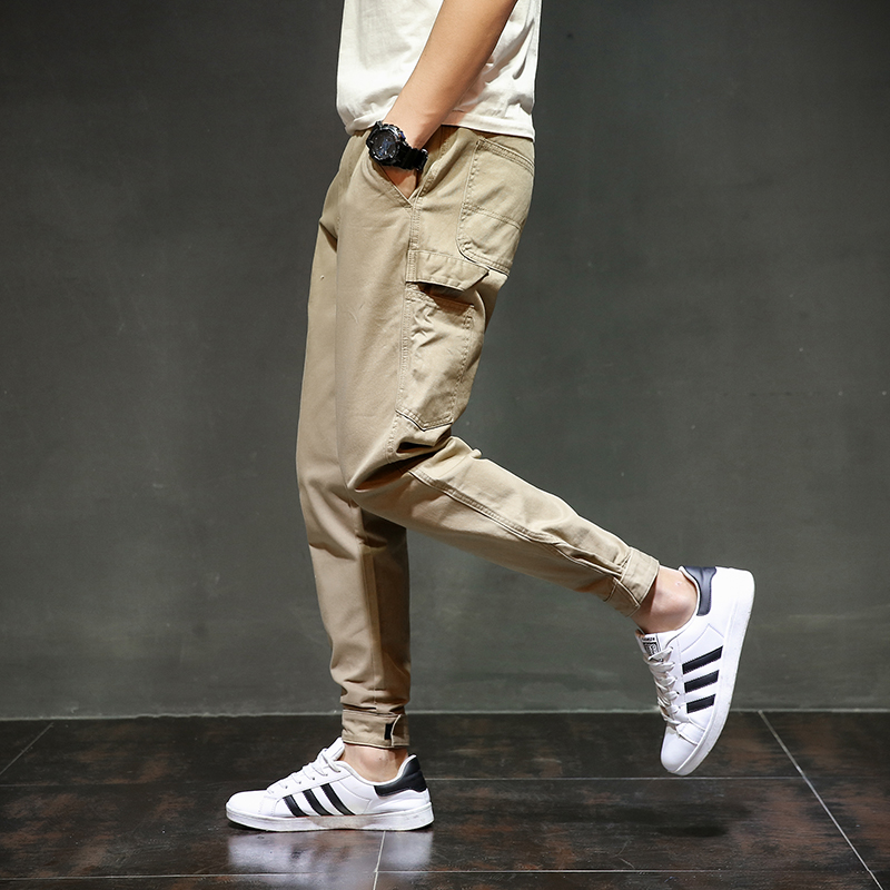 Fashion Streetwear Youth Mens Jeans Jogger Pants Yellow Color Boot Cut Slim Fit Leg Brand Ankle Banded Pants Tied Jeans Men