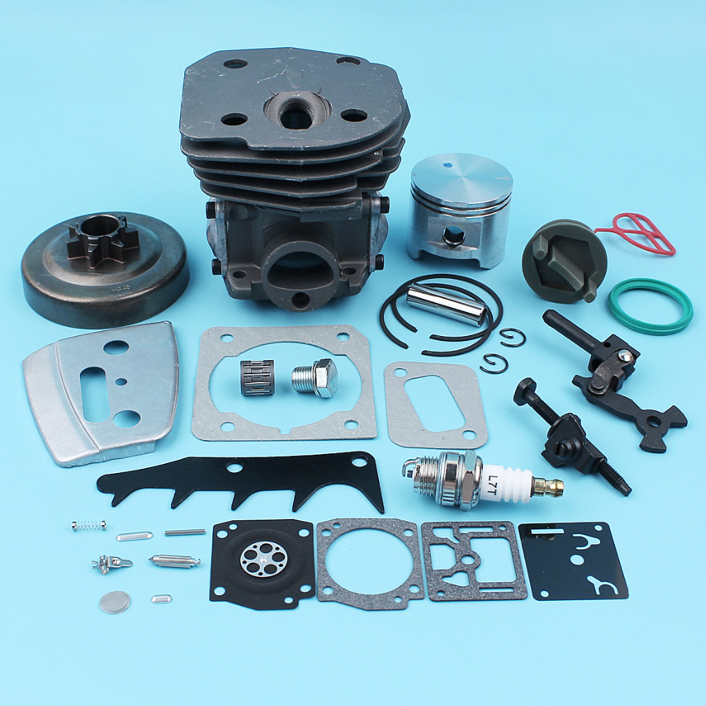 Big Bore 45mm Cylinder Piston .325 Clutch Drum Carb Repair Kit For Husqvarna 353 351 350 346 XP 340 345 Bar Plate Tensioner Cap цена