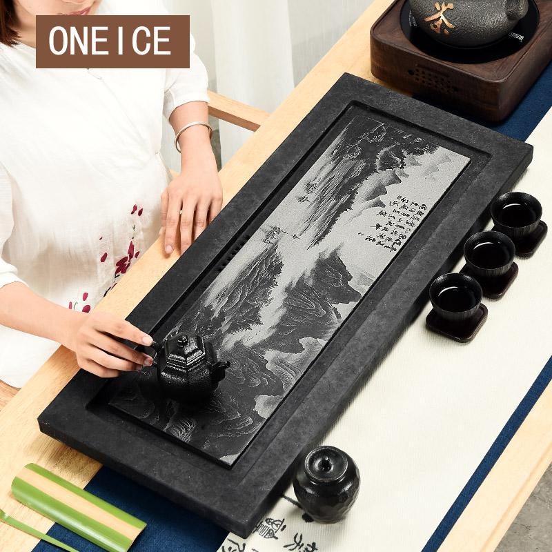 Ombre Sculpture Pièce Entière De Wujinshi Plateau de Thé Pierre Noire Petite Mer Table À La Maison Simple Ensemble Chinois Kung Fu Bambou thé Plateaux