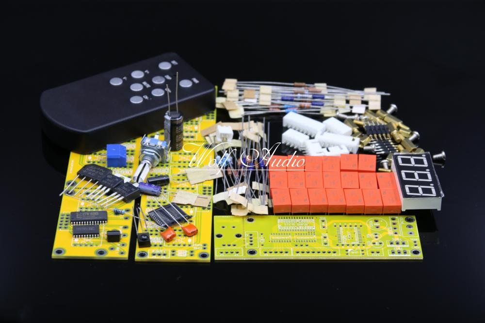 Balance Version JV8 HIFI Remote Control Volume Board Kit 128 Steps 2 Channel 50K Exponential Constant Input Impedance Relay diy kit jv15 hifi remote volume control kit 128 steps dual display 50k with aluminum remote