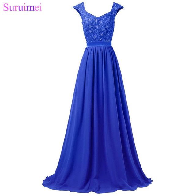 Royal Blue Bridesmaid Dresses Chiffon Cap Sleeves Applique Corset Long Purple Silver Gray Vestidos De Brides Maid Dress