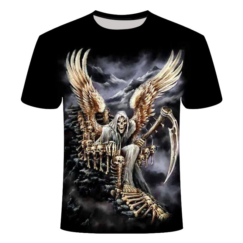 2019 Skull T Shirt Men Black Anime Tshirt United Kingdom Gothic 3d Print T-shirt Punk Rock Clothes Casual Hip Hop Mens Clothing