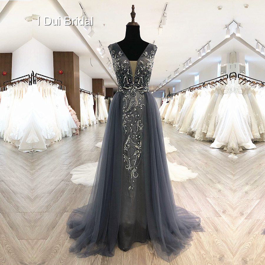 Luxury Beaded Grey Evening Dresses V Neck Low Back High Quality Special Occasion Dresses Factory Custom Made