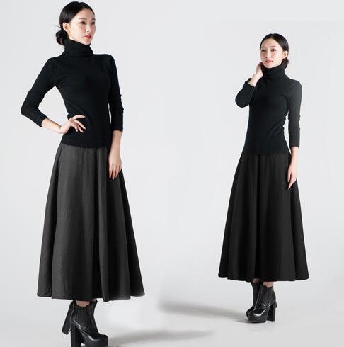 Mujer de Invierno Negro Gonne 7XL Más Tamaño Sólido de la Alta Cintura de La Vendimia de Las Señoras Vestidos de Las Mujeres Calientes Adelgazan Maxi Falda Plisada